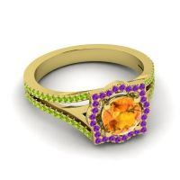 Ornate Halo Naksatra Citrine Ring with Amethyst and Peridot in 14k Yellow Gold