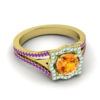 Ornate Halo Naksatra Citrine Ring with Aquamarine and Amethyst in 14k Yellow Gold
