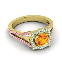 Ornate Halo Naksatra Citrine Ring with Aquamarine and Pink Tourmaline in 18k Yellow Gold