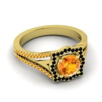 Ornate Halo Naksatra Citrine Ring with Black Onyx in 14k Yellow Gold