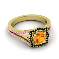 Ornate Halo Naksatra Citrine Ring with Black Onyx and Pink Tourmaline in 14k Yellow Gold