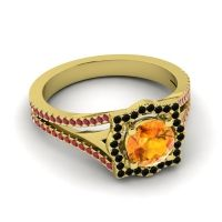 Ornate Halo Naksatra Citrine Ring with Black Onyx and Ruby in 14k Yellow Gold