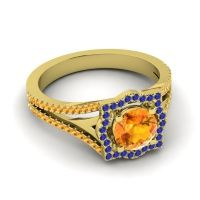 Ornate Halo Naksatra Citrine Ring with Blue Sapphire in 14k Yellow Gold