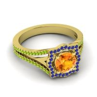 Ornate Halo Naksatra Citrine Ring with Blue Sapphire and Peridot in 14k Yellow Gold
