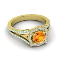 Ornate Halo Naksatra Citrine Ring with Diamond and Aquamarine in 14k Yellow Gold