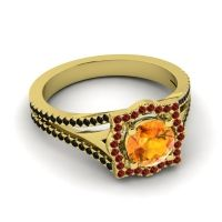 Ornate Halo Naksatra Citrine Ring with Garnet and Black Onyx in 14k Yellow Gold