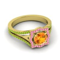 Ornate Halo Naksatra Citrine Ring with Pink Tourmaline and Peridot in 18k Yellow Gold