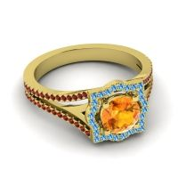Ornate Halo Naksatra Citrine Ring with Swiss Blue Topaz and Garnet in 14k Yellow Gold