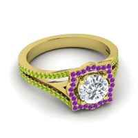 Ornate Halo Naksatra Diamond Ring with Amethyst and Peridot in 14k Yellow Gold