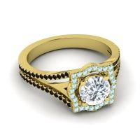 Ornate Halo Naksatra Diamond Ring with Aquamarine and Black Onyx in 14k Yellow Gold