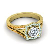Ornate Halo Naksatra Diamond Ring with Aquamarine and Citrine in 14k Yellow Gold