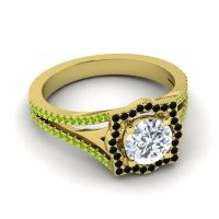 Ornate Halo Naksatra Diamond Ring with Black Onyx and Peridot in 14k Yellow Gold