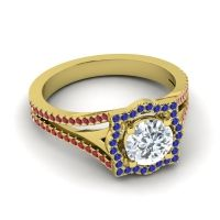 Ornate Halo Naksatra Diamond Ring with Blue Sapphire and Ruby in 18k Yellow Gold