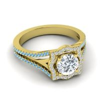 Ornate Halo Naksatra Diamond Ring with Swiss Blue Topaz in 18k Yellow Gold