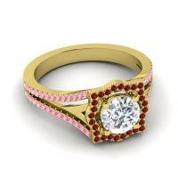 Ornate Halo Naksatra Diamond Ring with Garnet and Pink Tourmaline in 18k Yellow Gold