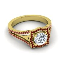 Ornate Halo Naksatra Diamond Ring with Garnet and Ruby in 18k Yellow Gold