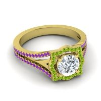Ornate Halo Naksatra Diamond Ring with Peridot and Amethyst in 18k Yellow Gold