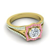 Ornate Halo Naksatra Diamond Ring with Pink Tourmaline and Aquamarine in 14k Yellow Gold