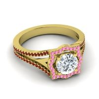 Ornate Halo Naksatra Diamond Ring with Pink Tourmaline and Garnet in 18k Yellow Gold