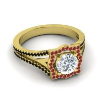 Ornate Halo Naksatra Diamond Ring with Ruby and Black Onyx in 18k Yellow Gold