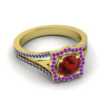 Ornate Halo Naksatra Garnet Ring with Amethyst and Blue Sapphire in 14k Yellow Gold