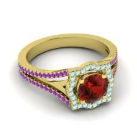Ornate Halo Naksatra Garnet Ring with Aquamarine and Amethyst in 18k Yellow Gold