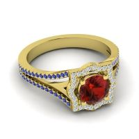 Ornate Halo Naksatra Garnet Ring with Diamond and Blue Sapphire in 18k Yellow Gold