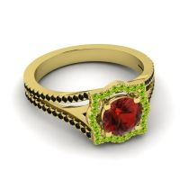 Ornate Halo Naksatra Garnet Ring with Peridot and Black Onyx in 14k Yellow Gold