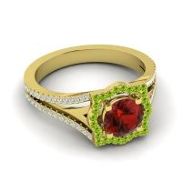 Ornate Halo Naksatra Garnet Ring with Peridot and Diamond in 18k Yellow Gold