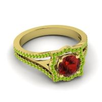 Ornate Halo Naksatra Garnet Ring with Peridot in 18k Yellow Gold