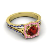 Ornate Halo Naksatra Garnet Ring with Pink Tourmaline and Blue Sapphire in 18k Yellow Gold