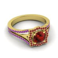 Ornate Halo Naksatra Garnet Ring with Ruby and Amethyst in 18k Yellow Gold