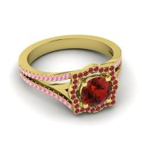 Ornate Halo Naksatra Garnet Ring with Ruby and Pink Tourmaline in 18k Yellow Gold
