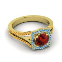 Ornate Halo Naksatra Garnet Ring with Swiss Blue Topaz and Citrine in 18k Yellow Gold