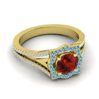 Ornate Halo Naksatra Garnet Ring with Swiss Blue Topaz and Diamond in 14k Yellow Gold