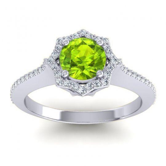 Peridot Ornate Halo Pave Taraka Ring with Diamond in 14k White Gold