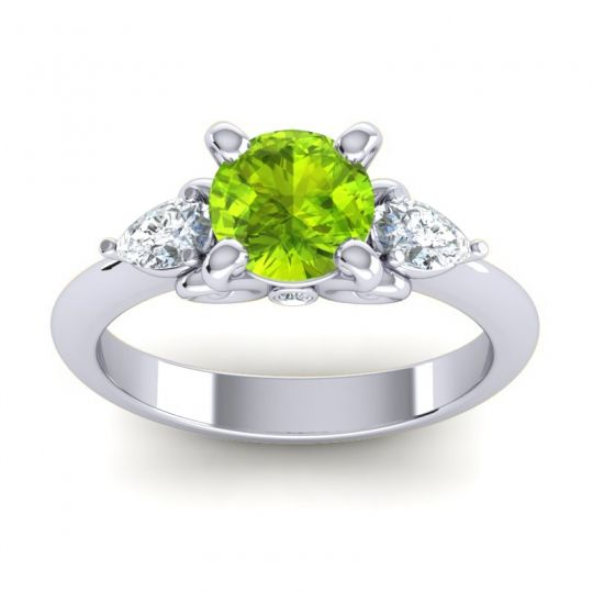 Three Stone Divya Peridot Ring with Diamond in 14k White Gold