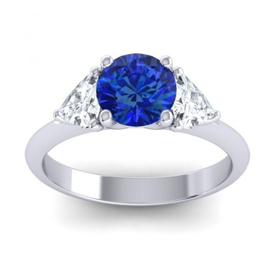 Blue Sapphire Three Stone Tisrah Ring with Diamond in 14k White Gold