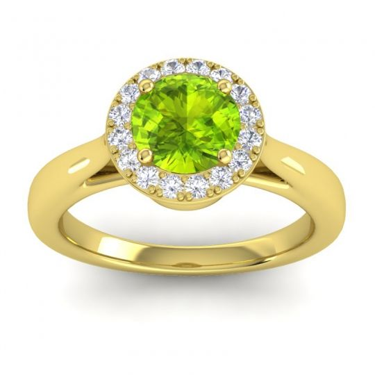 Peridot Cathedarl Halo Dana Ring with Diamond in 14k Yellow Gold