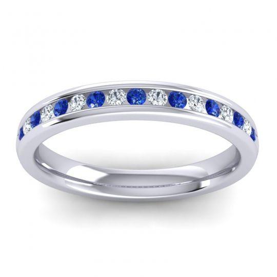 Half Eternity Vita Blue Sapphire Band with Diamond in 18k White Gold