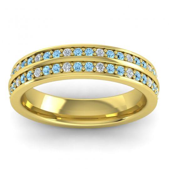 Eternity Pave Yugala Aquamarine Band with Diamond in 14k Yellow Gold