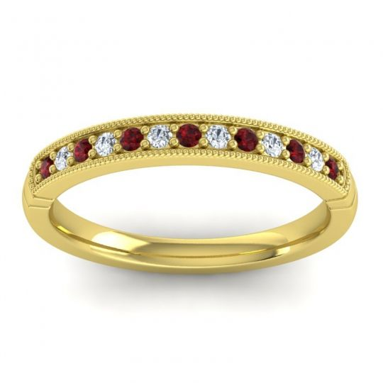Half Eternity Sima Garnet Band with Diamond in 14k Yellow Gold