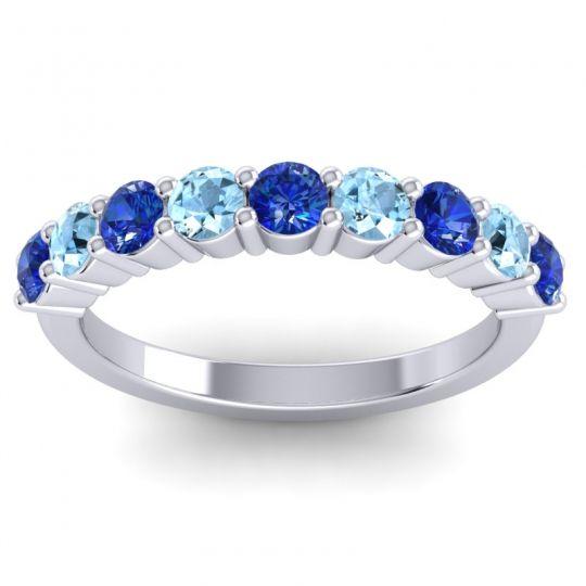 Blue Sapphire Classic Kara Band with Aquamarine in 14k White Gold