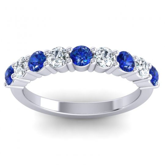 Blue Sapphire Classic Kara Band with Diamond in 14k White Gold