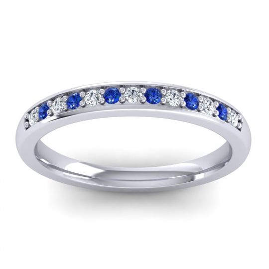Diamond Half Eternity Komala Band with Blue Sapphire in 14k White Gold