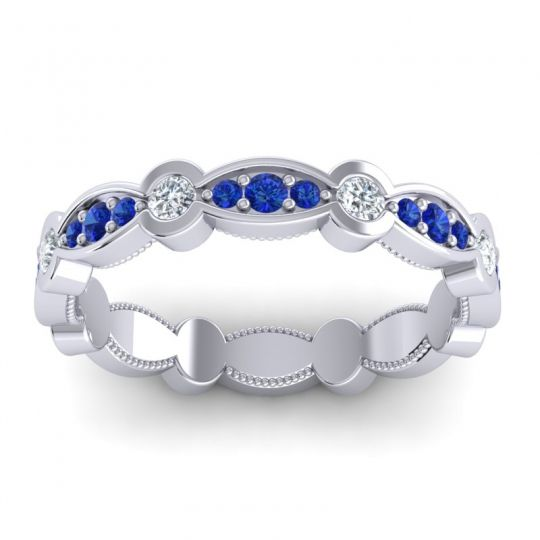 Blue Sapphire Eternity Ahi Band with Diamond in 14k White Gold