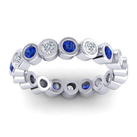 Blue Sapphire Eternity Bezel Budbuda Band with Diamond in 14k White Gold