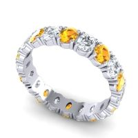 Citrine Eternity Oval Vizala Band with Diamond in 14k White Gold