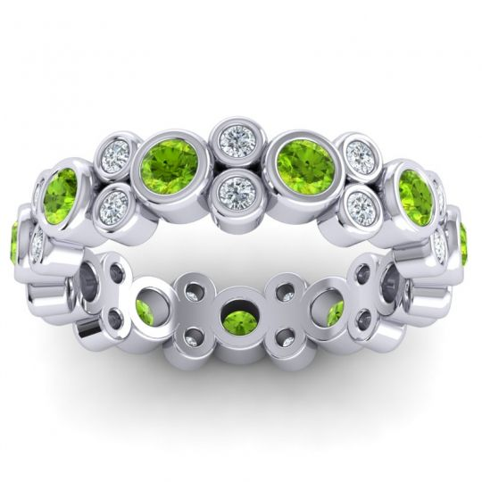 Peridot Modern Eternity Kanda Band with Diamond in 14k White Gold