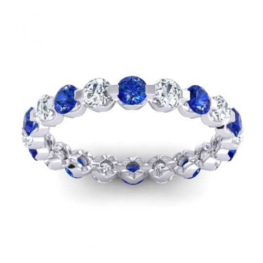 Eternity Vici Blue Sapphire Band with Diamond in 14k White Gold